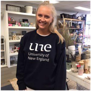 UNE CREW NECK NAVY 2019. University of New England Clothing Merch, UNE Life, The Shop