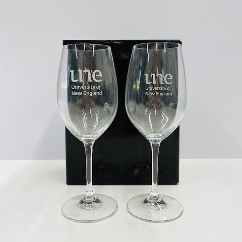 UNE Merch, wine glass, University of New England