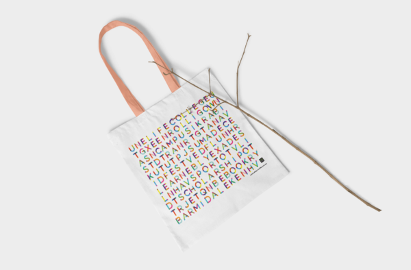UNE Tote Bag with a pink handle